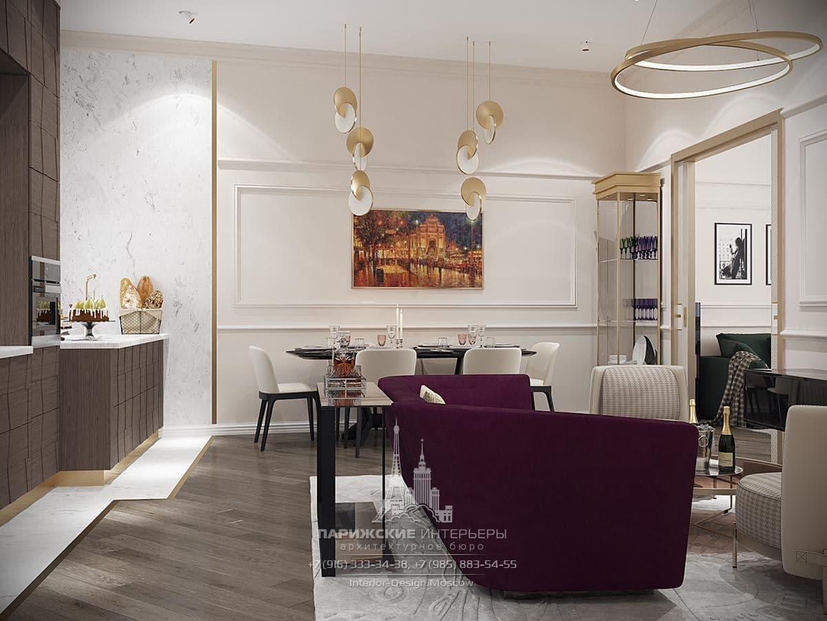 Дизайн столовой зоны в гостиной в парижском стиле
