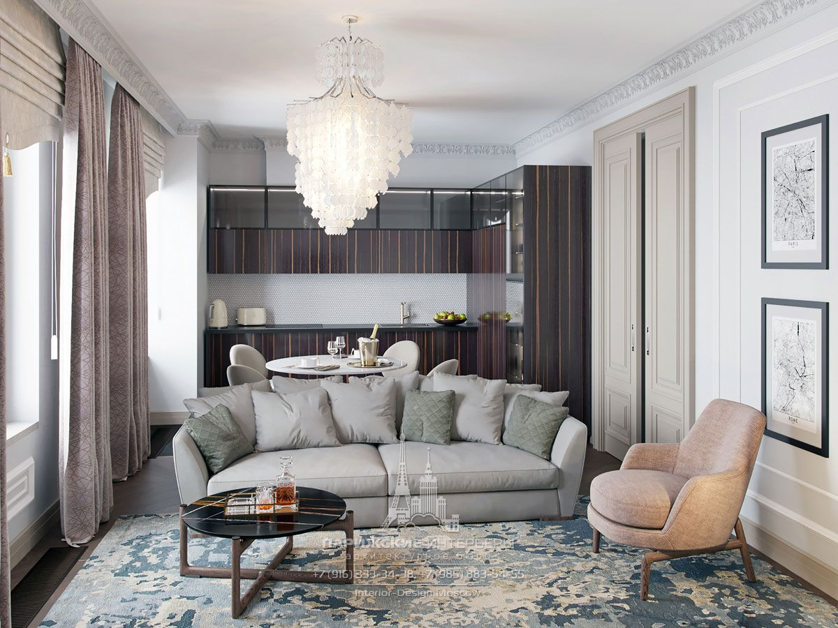 Комбинированные шторы в интерьере гостиной в стиле современная классика
