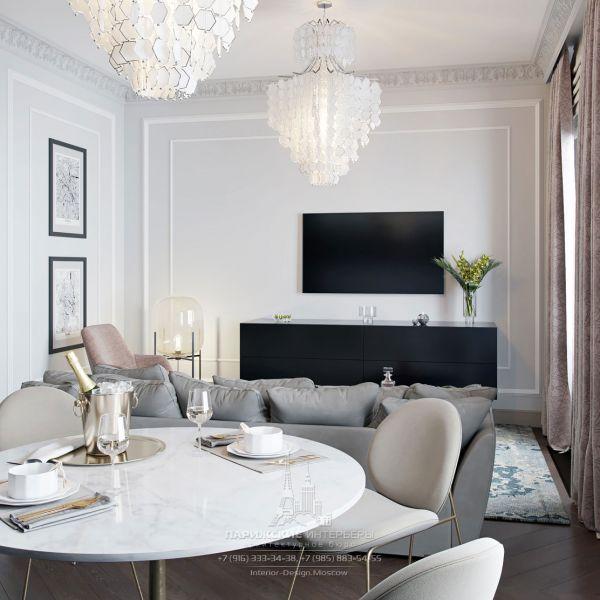 Интерьер гостиной-столовой в стиле современная классика
