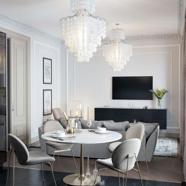 Дизайн гостиной-столовой в стиле современная классика