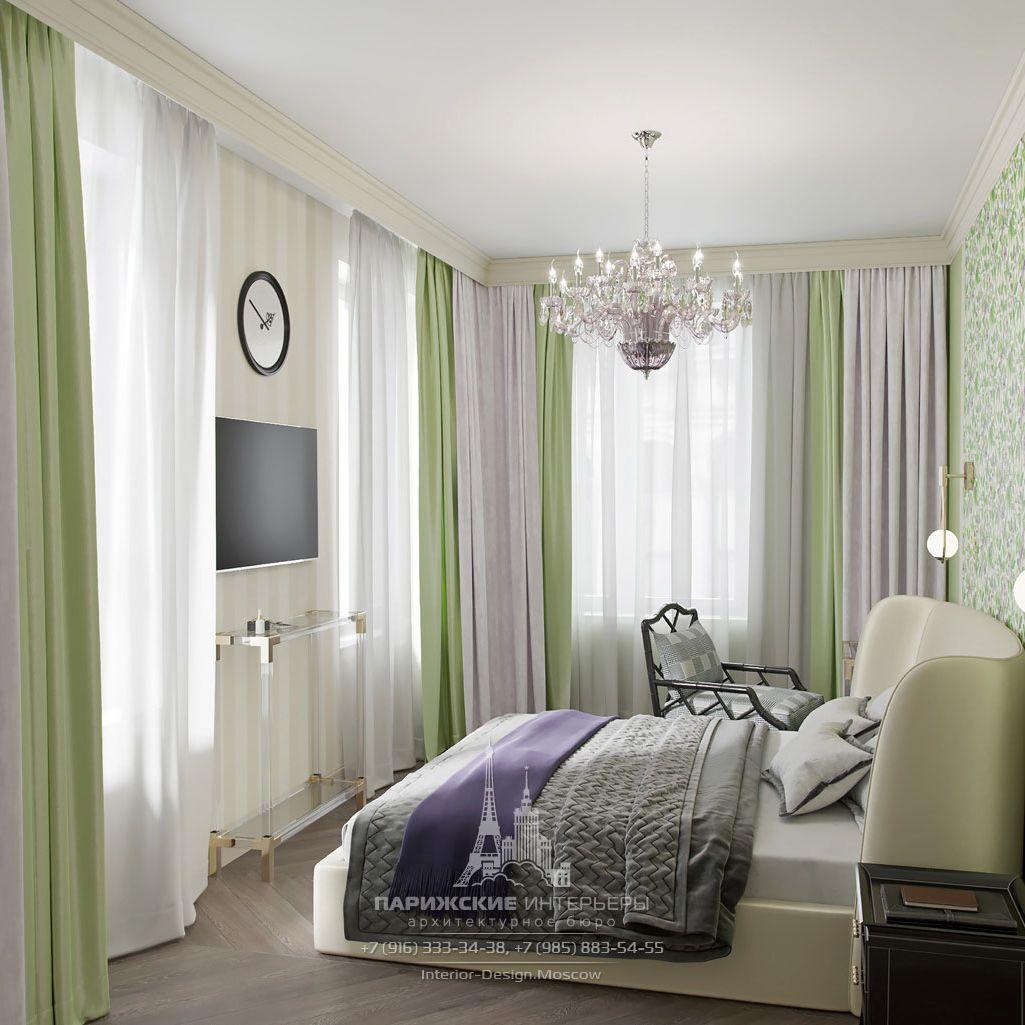 Сиреневый и зеленый в интерьере спальни
