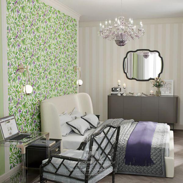 Дизайн спальни в стиле современная классика. Зеленые обои