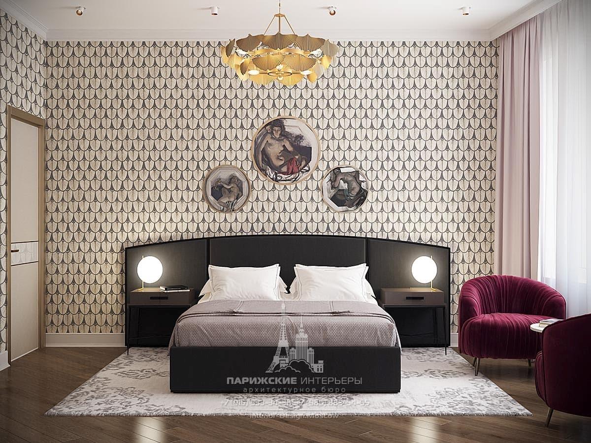 Спальня в светлых тонах в современном стиле