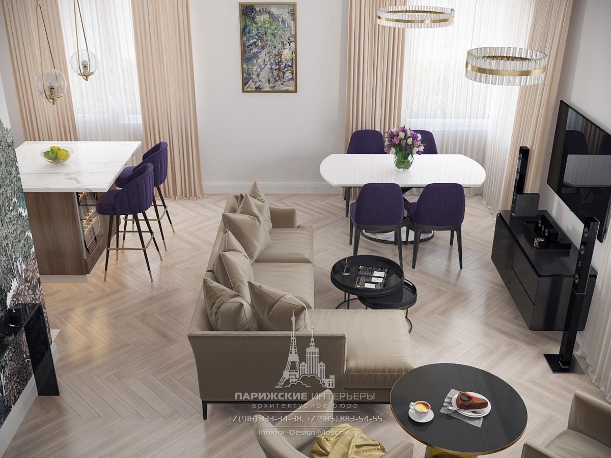 Интерьер квартиры в светлых тонах в ЖК «Родной город»