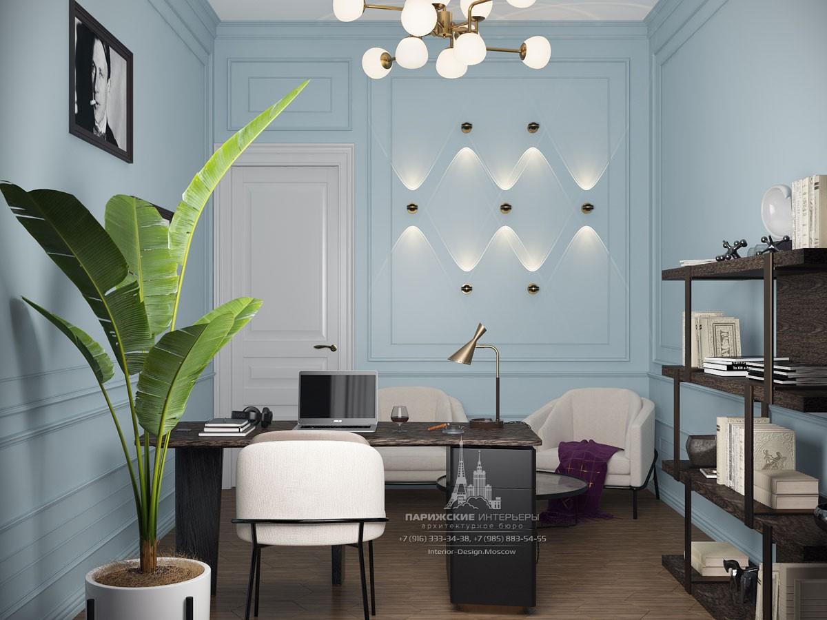Дизайн кабинета в светлых тонах в современном парижском стиле
