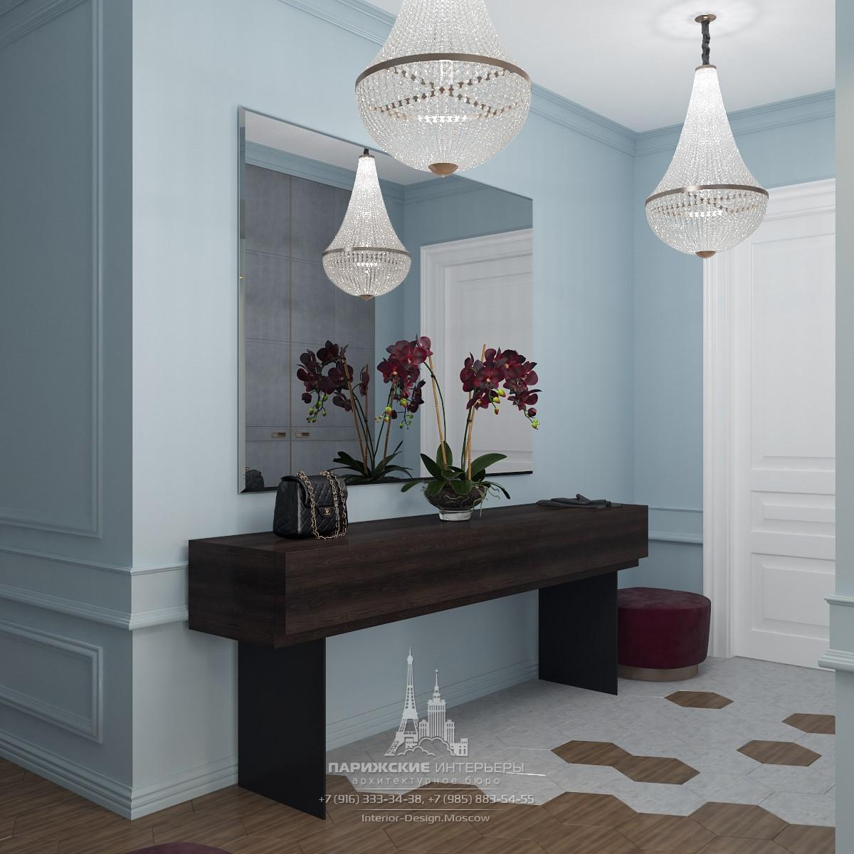 Дизайн в серо-голубых тонах. Фото современных интерьеров