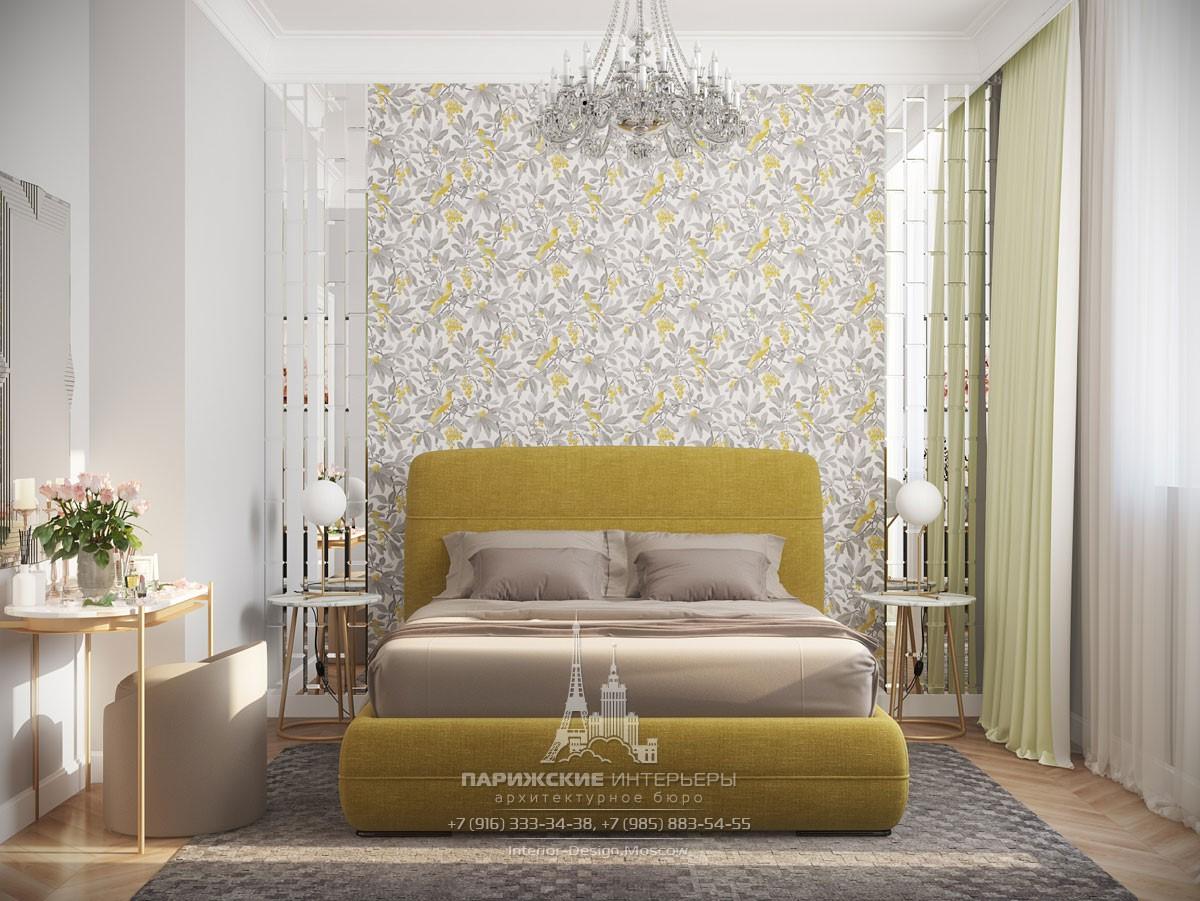 Дизайн спальни в светлых тонах с оливковыми акцентами