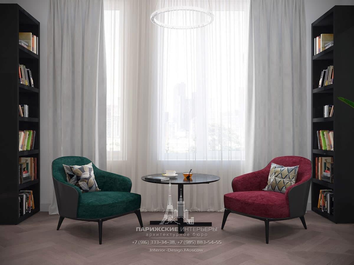 Дизайн квартиры в светлых тонах с темной мебелью
