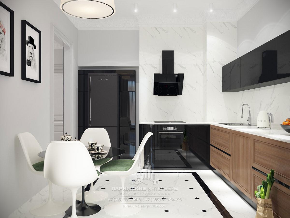 Интерьер современной кухни в черно-белой гамме