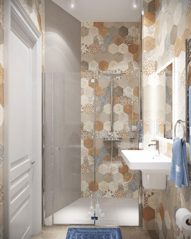 Дизайн ванной в светлых тонах в новостройке на Ленинском