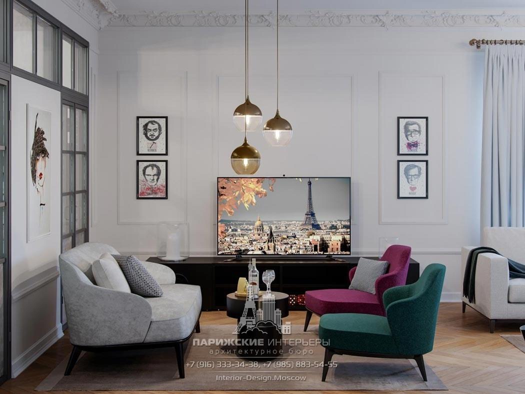 Дизайн-проект гостиной в 3-комнатной квартире в светлых тонах