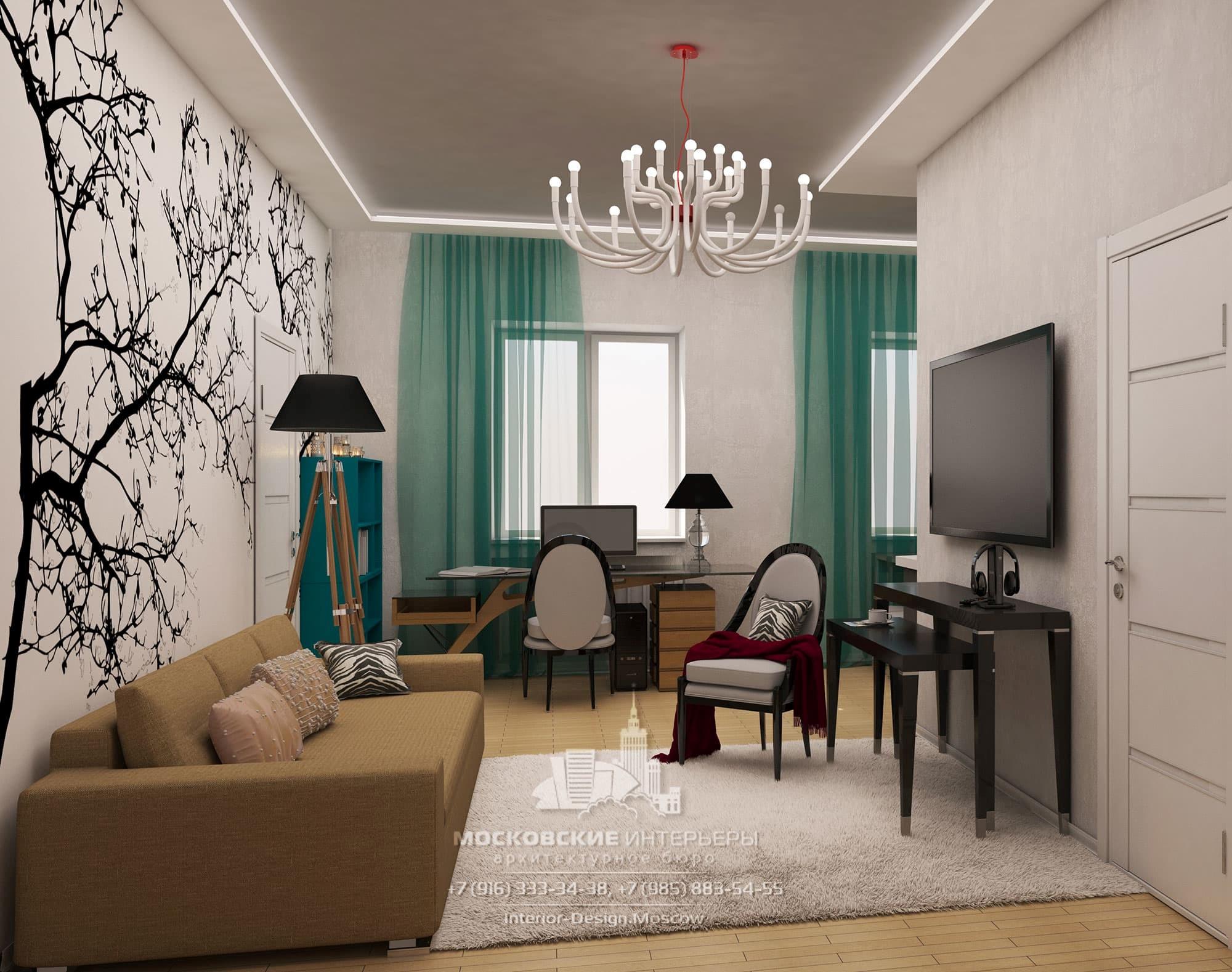 Дизайн квартиры в светлых тонах с зеленовато-синими акцентами