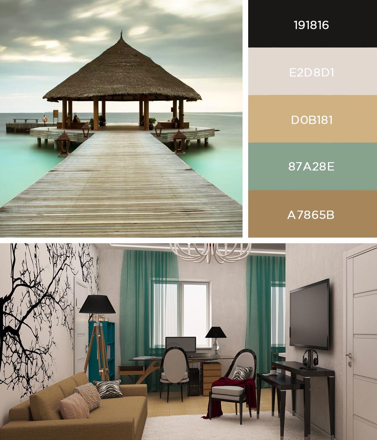 Интерьер гостиной в светлых тонах с морскими акцентами
