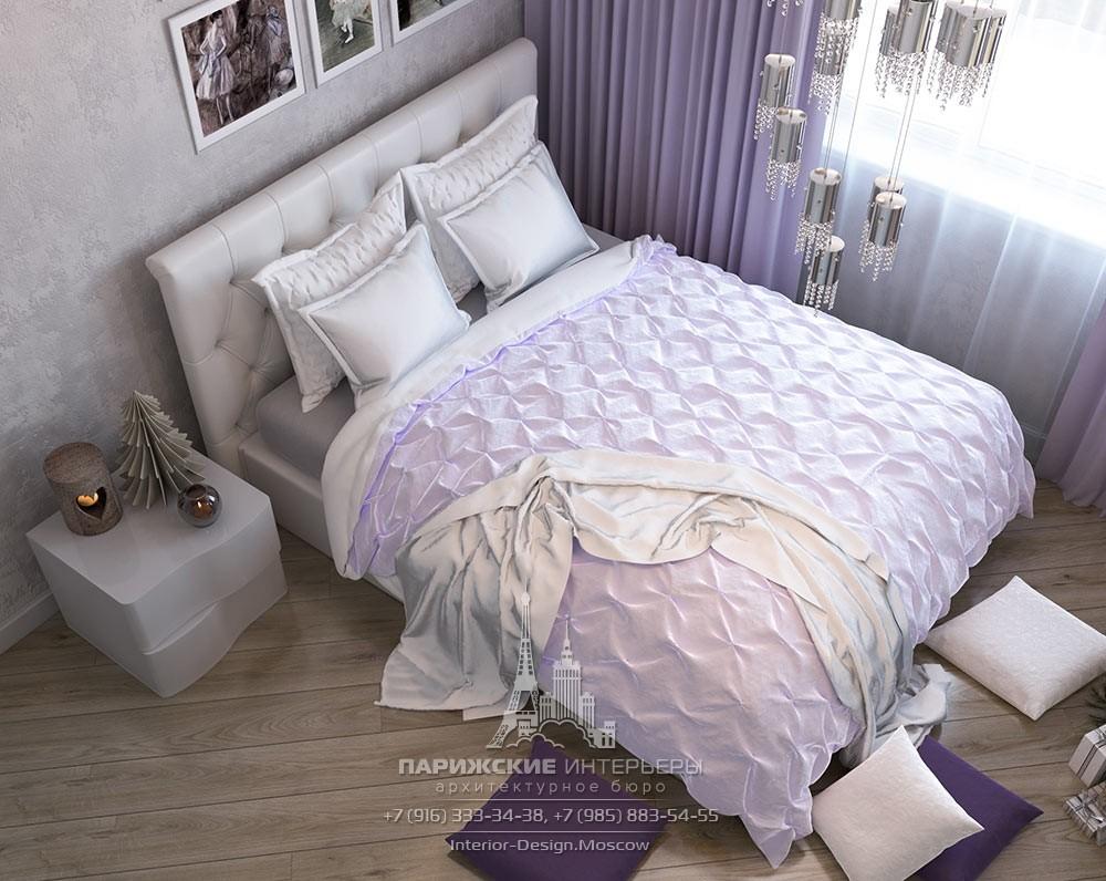Дизайн спальни в однокомнатной квартире в светлых тонах