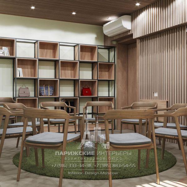 Дизайн интерьера комнаты для групповых занятий в психологическом центре