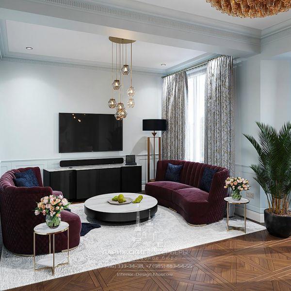 Дизайн ТВ-зоны гостиной в частном доме