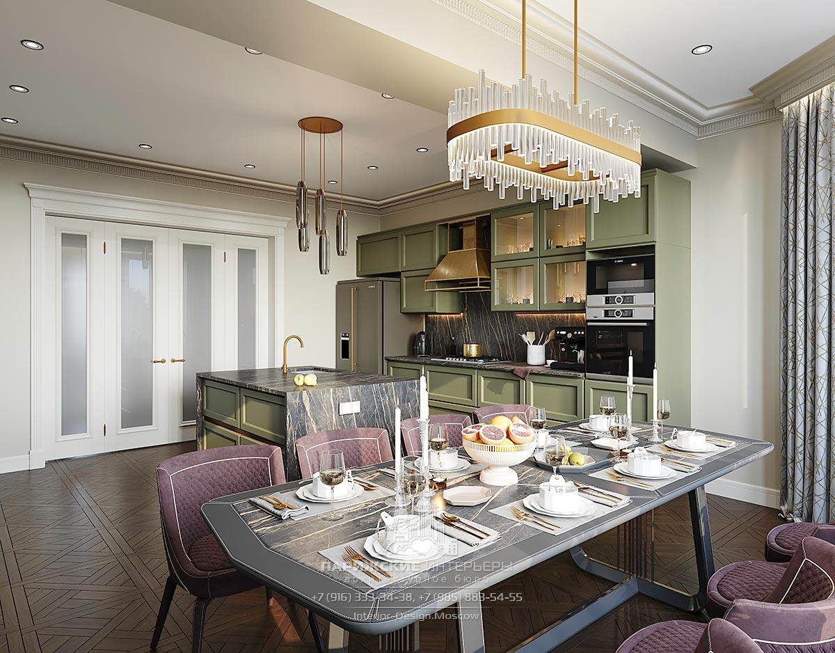 Дизайн частного дома в парижском стиле – кухня-столовая с островом