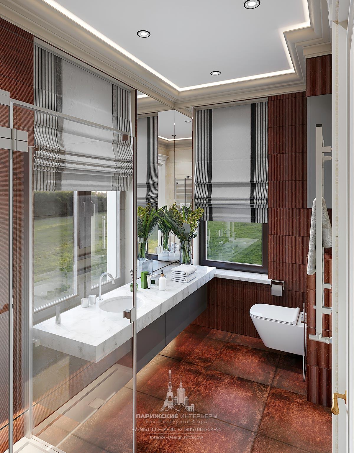 Дизайн ванной комнаты с окном в интерьере частного дома