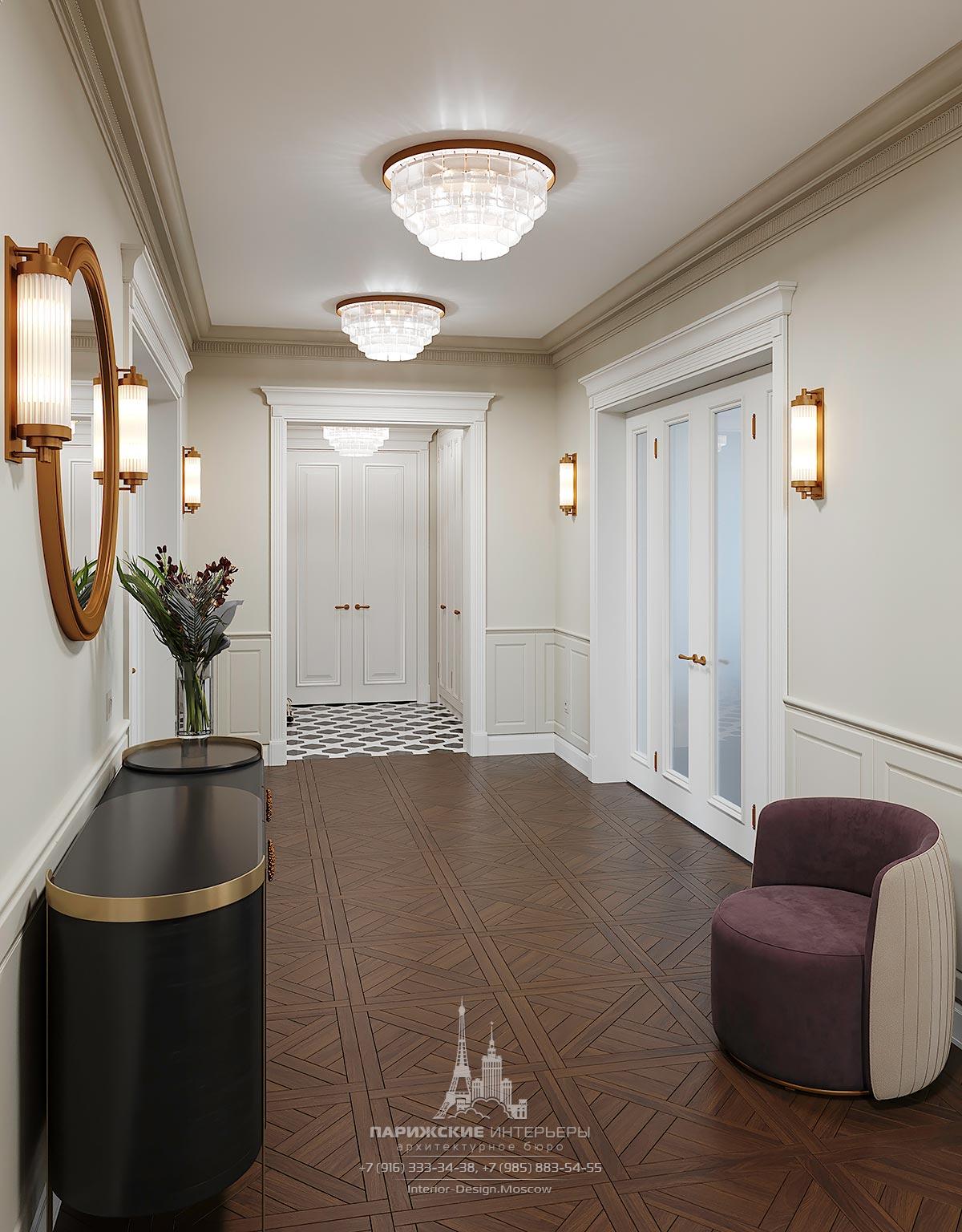 Дизайн холла с паркетным полом в интерьере частного дома