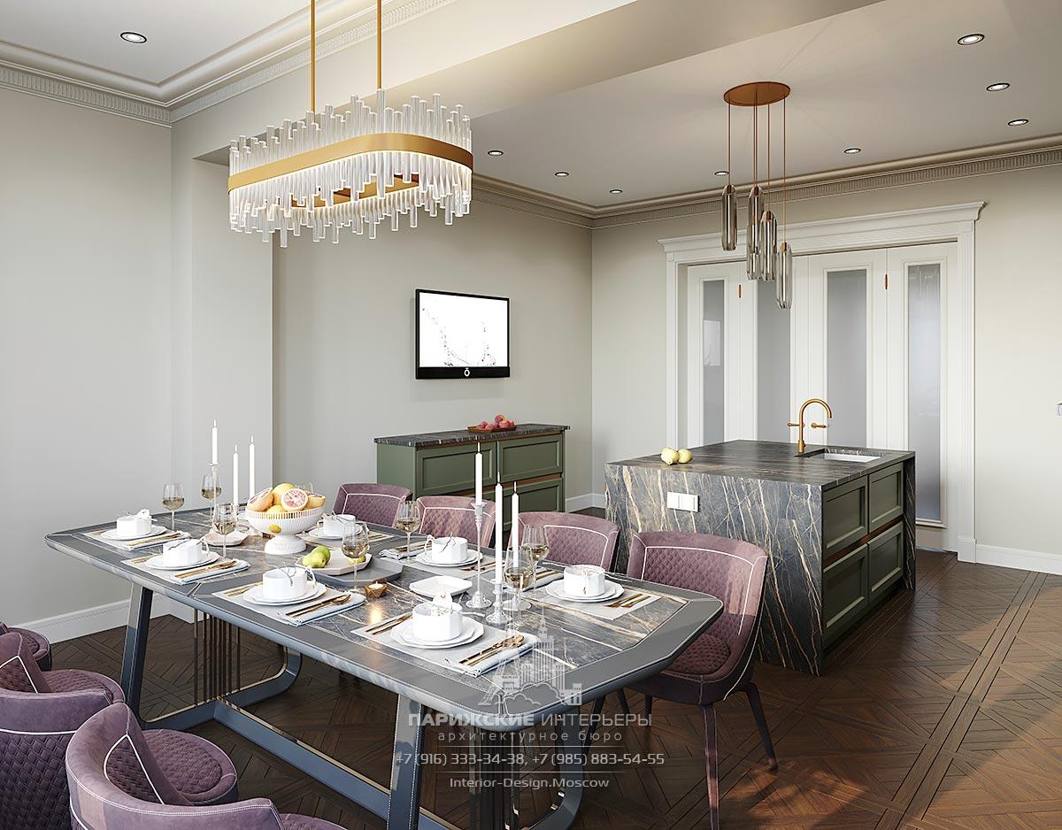 Дизайн частного дома в парижском стиле – кухня-столовая