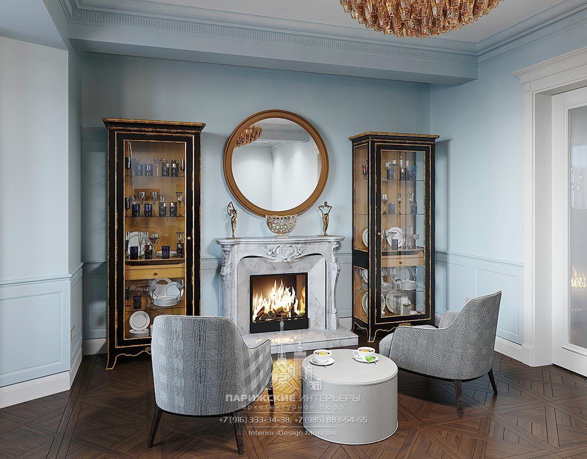 Дизайн частного дома в парижском стиле – зона отдыха с камином