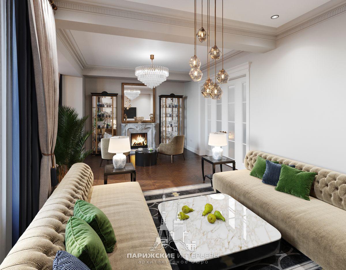Дизайн загородного дома изнутри – интерьер гостиной с камином