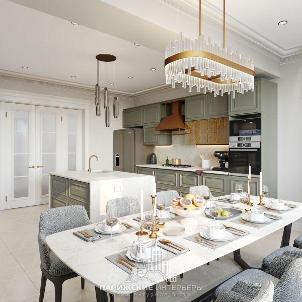 Дизайн интерьера кухни-столовой в загородном доме