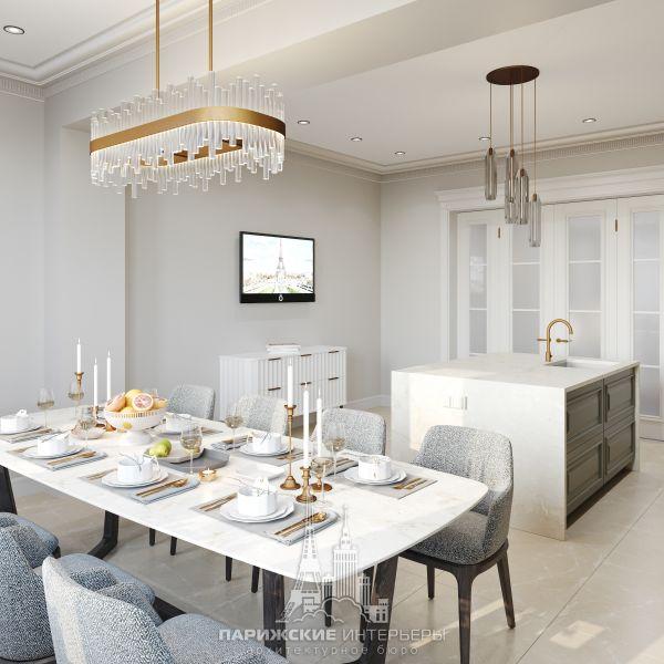 Дизайн кухни-столовой с ТВ-зоной в загородном доме