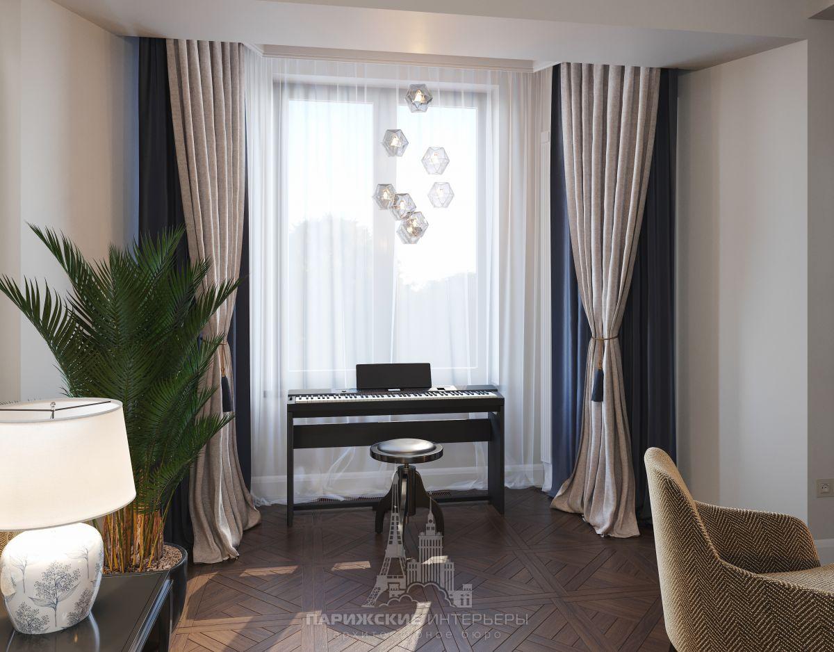 Дизайн загородного дома внутри – музыкальный уголок в гостиной