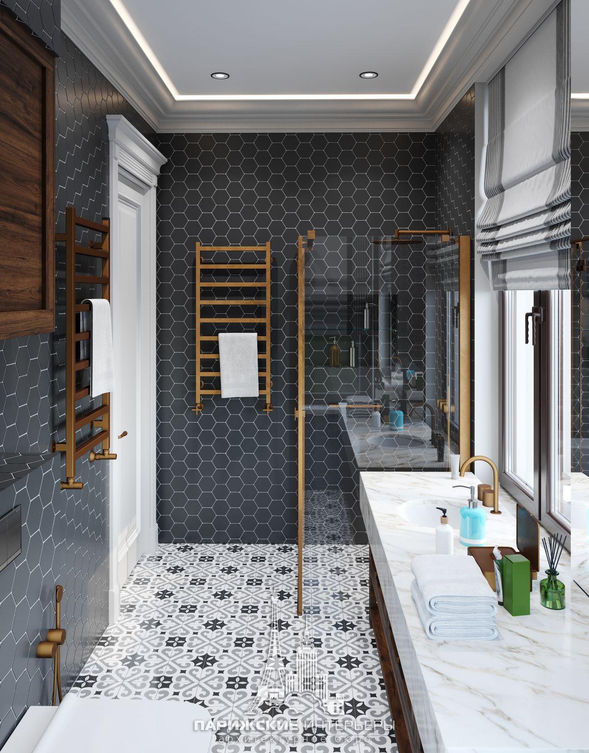 Дизайн ванной комнаты в парижском стиле с дизайнерской плиткой