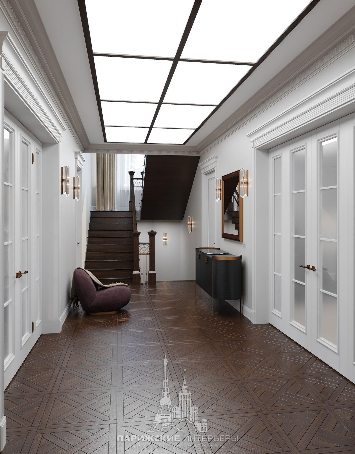 Дизайн загородного дома изнутри – входная зона в потолочным витражом