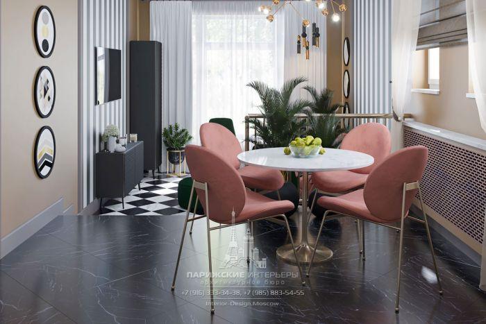 Дизайн интерьера зимнего сада с чайным столиком