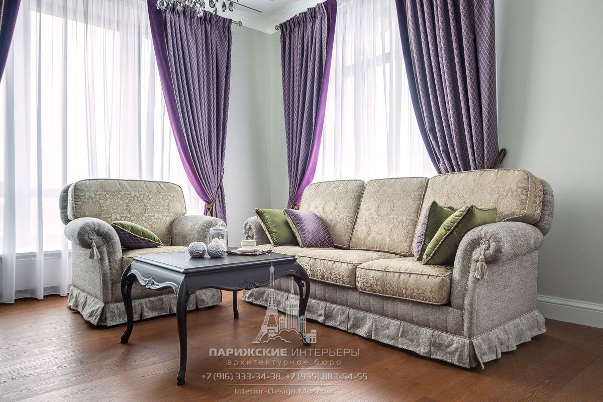 Дизайн интерьера светлой гостиной в стиле неоклассика