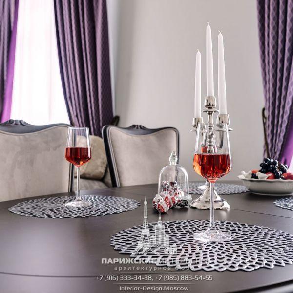 Дизайн интерьера столовой в стиле неоклассика. Сервировка стола