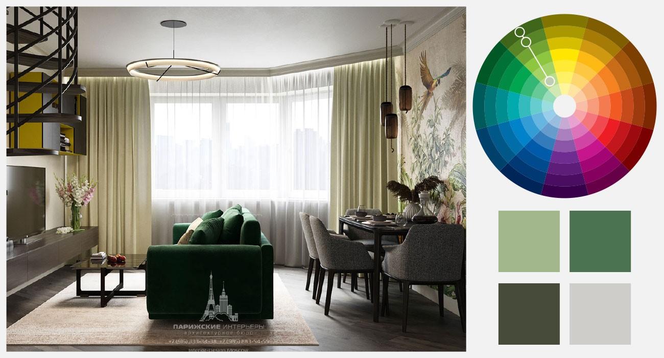 Оттенки зеленого в интерьере гостиной