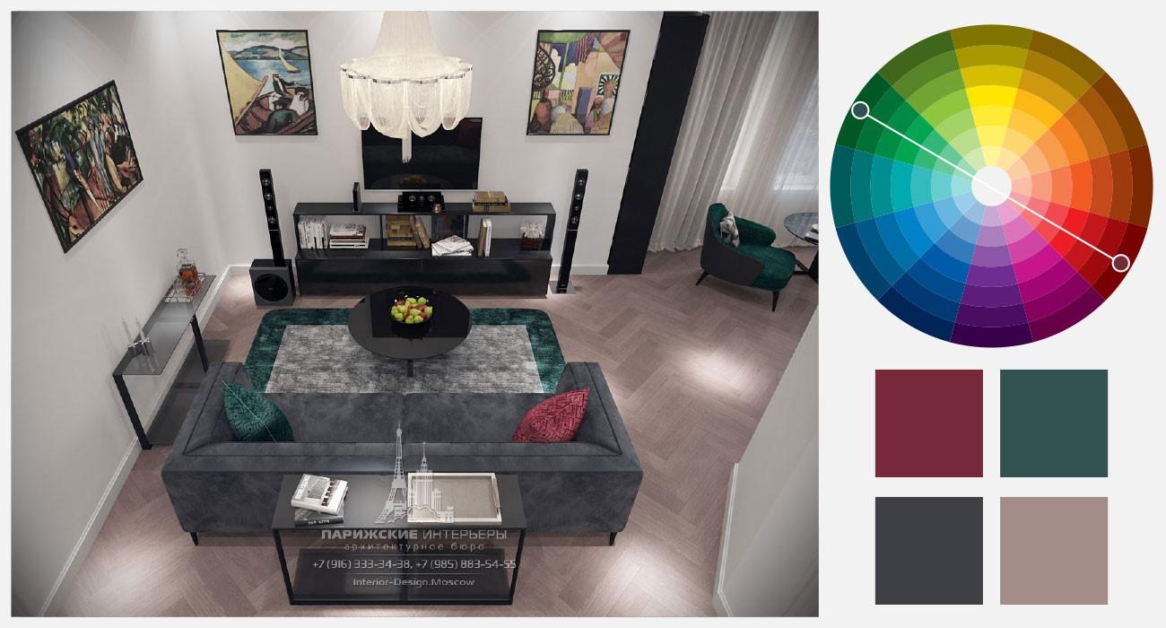 Бордовый и зеленый цвета в интерьере гостиной