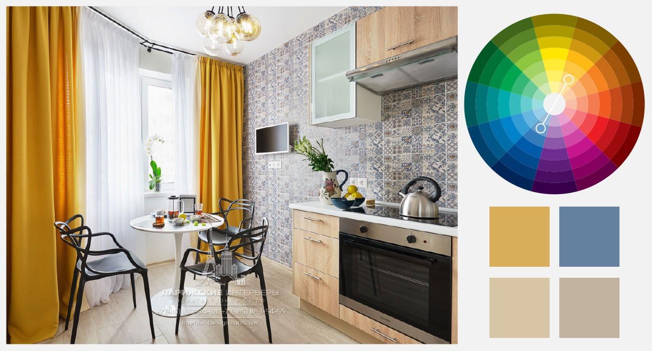 Горчичный и синий цвета в интерьере кухни