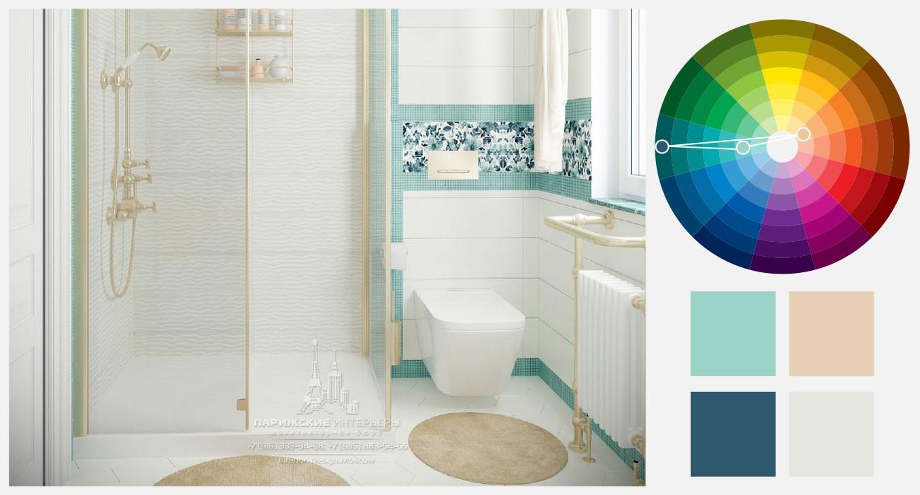 Бирюзовый и бежевый цвета в интерьере ванной комнаты