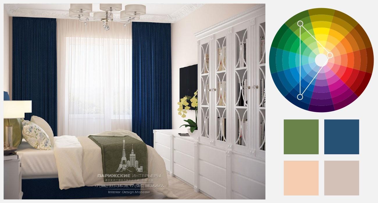 Оливково-зеленый, синий и бежевый цвета в интерьере спальни
