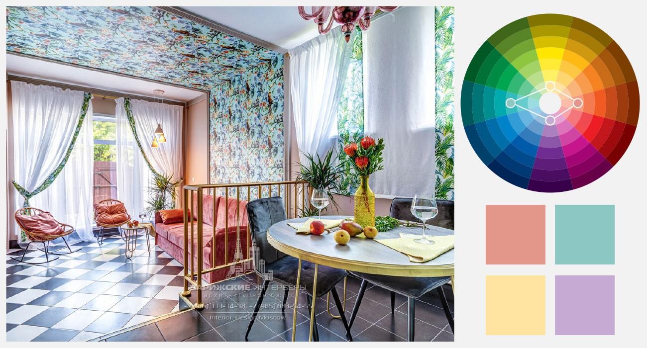 Жёлтый, лососевый, бирюзовый и лиловый в летнем декоре гостиной