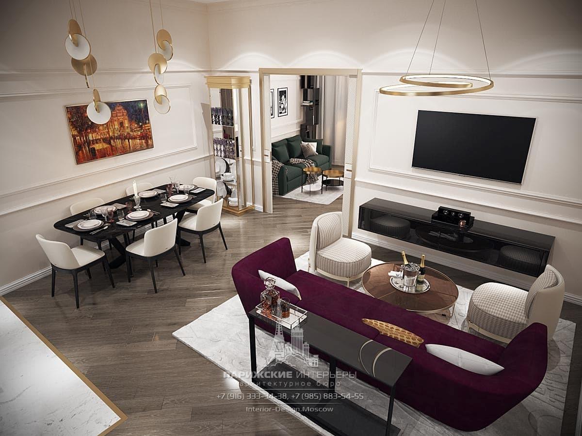 Дизайн современной гостиной с обеденной зоной и большим диваном