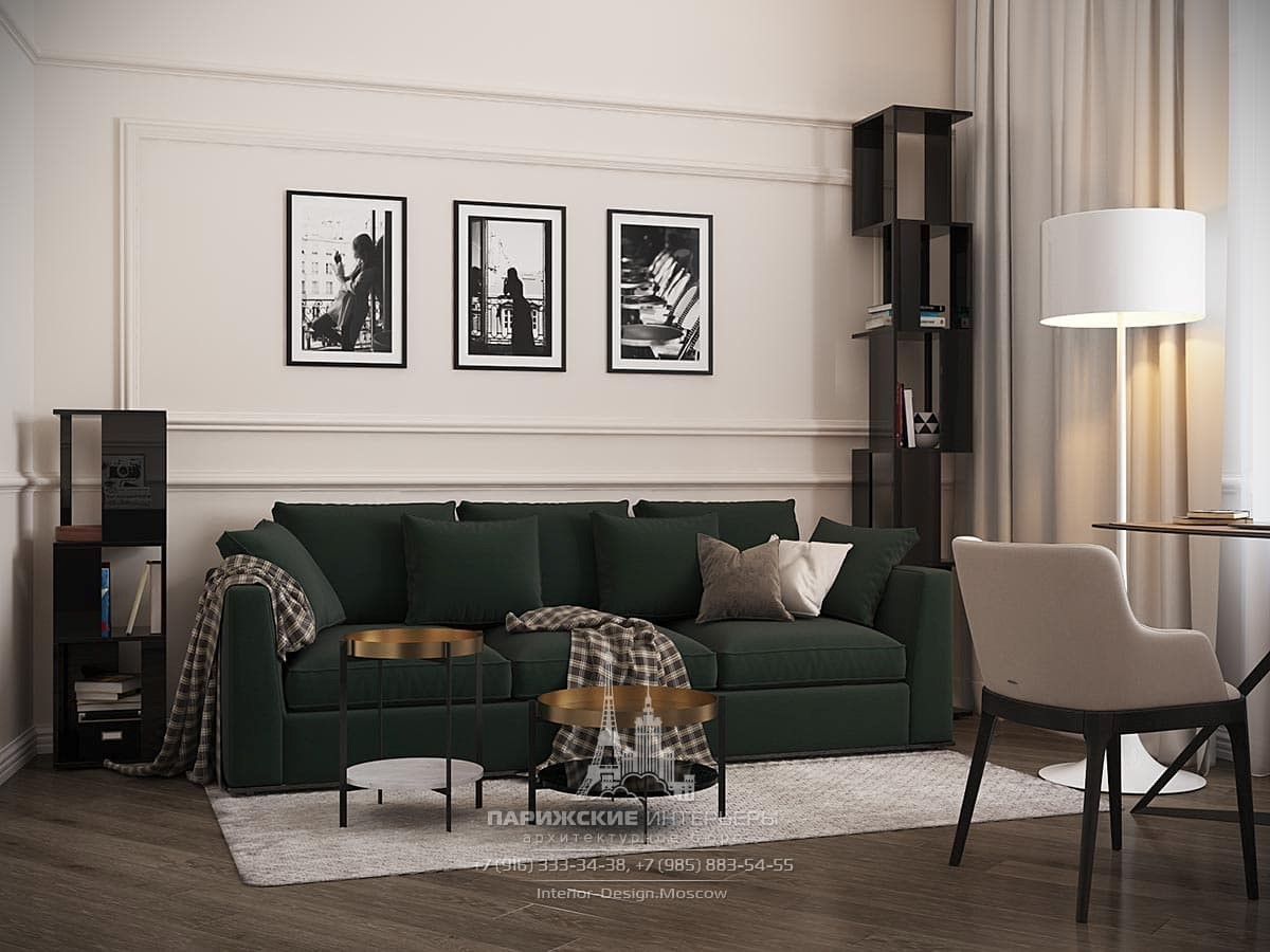 Дизайн современной гостиной с большим диваном