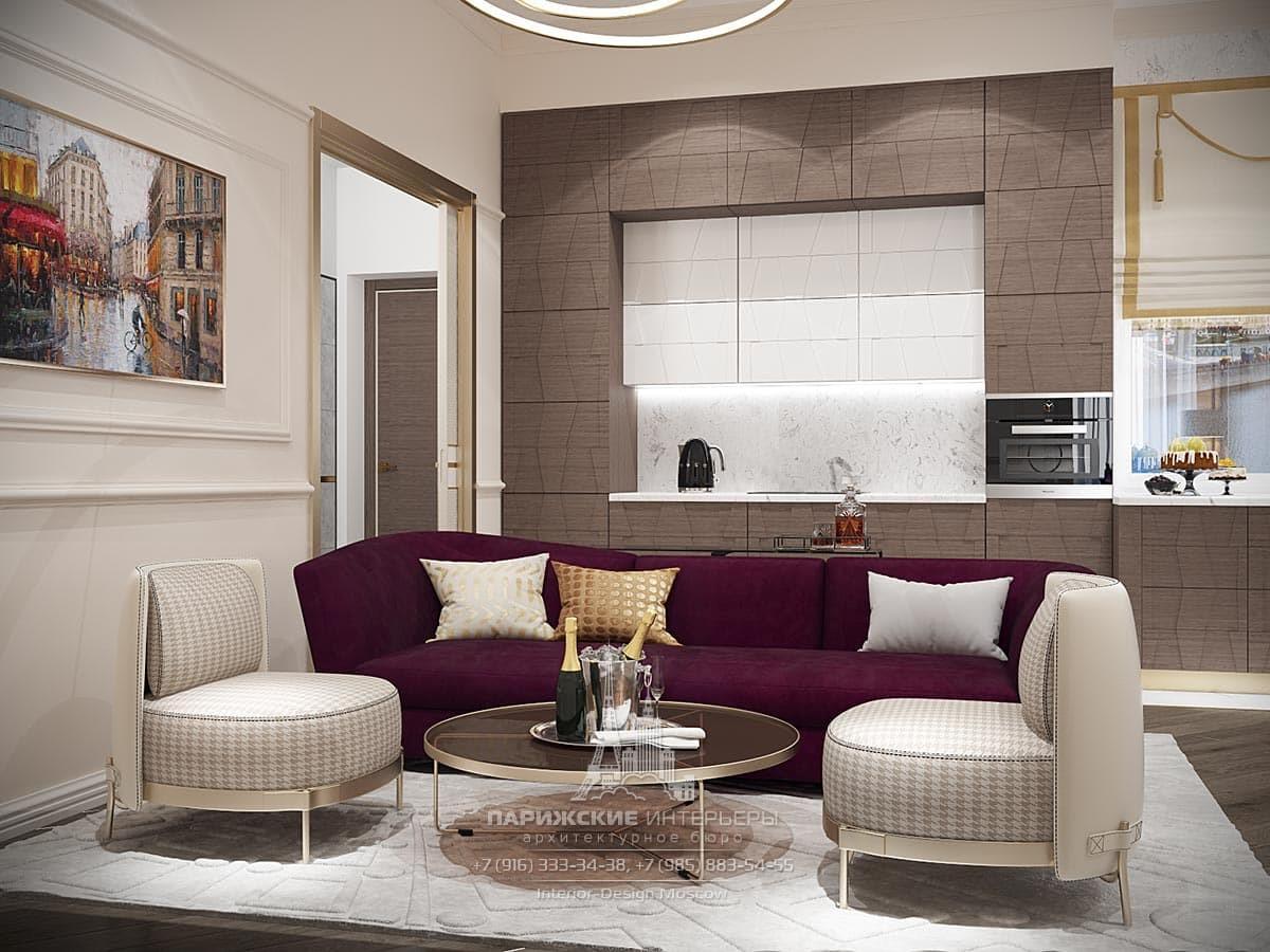 Современный дизайн кухни-гостиной в бежевом цвете