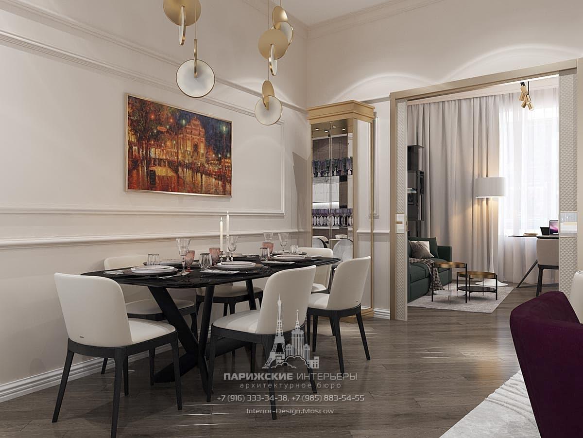 Современный дизайн столовой с контрастным цветовым решением