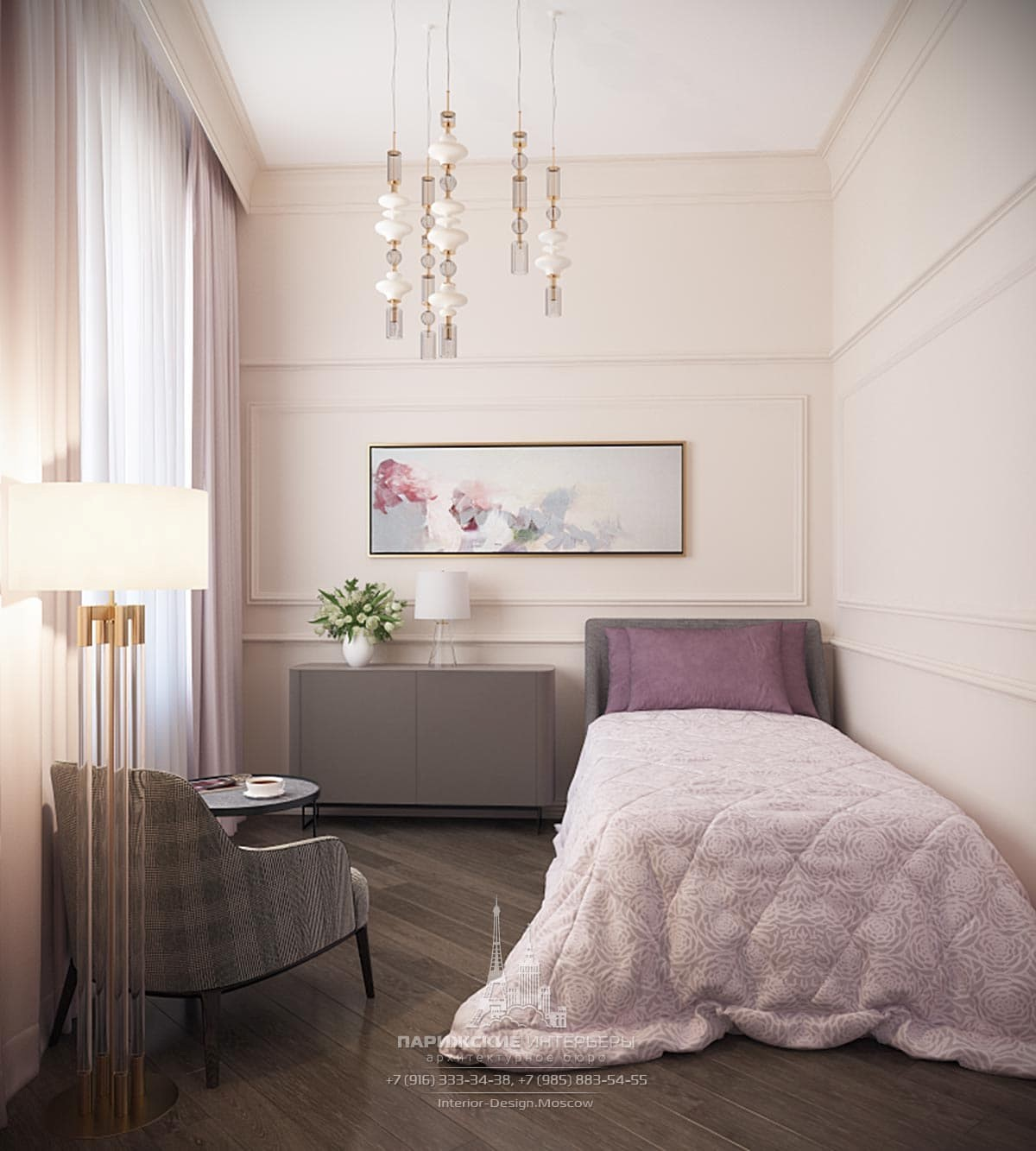 Современный дизайн спальни в сиреневых тонах
