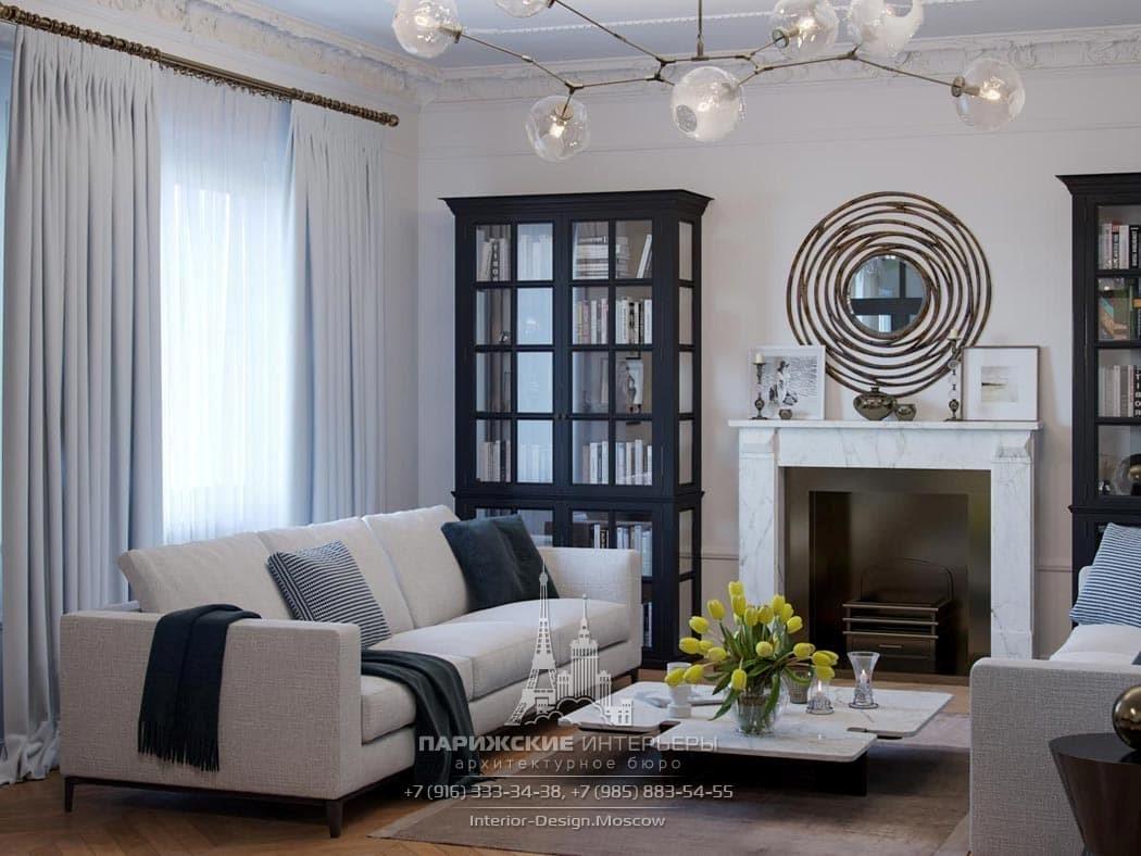 Современный дизайн гостиной с классическим камином