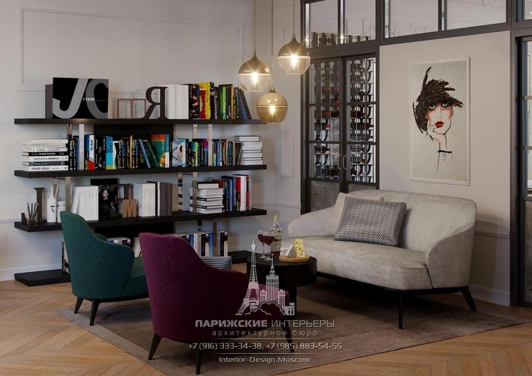 Дизайн зоны отдыха в современном стиле с яркими креслами