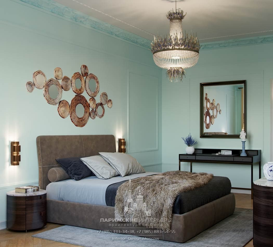 Современный дизайн спальни с бирюзово-мятными стенами