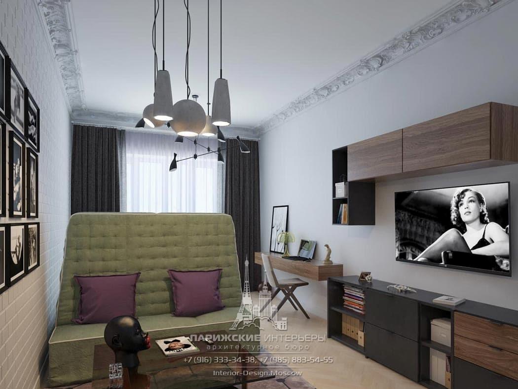 Дизайн подростковой комнаты в современном стиле с белым кирпичом