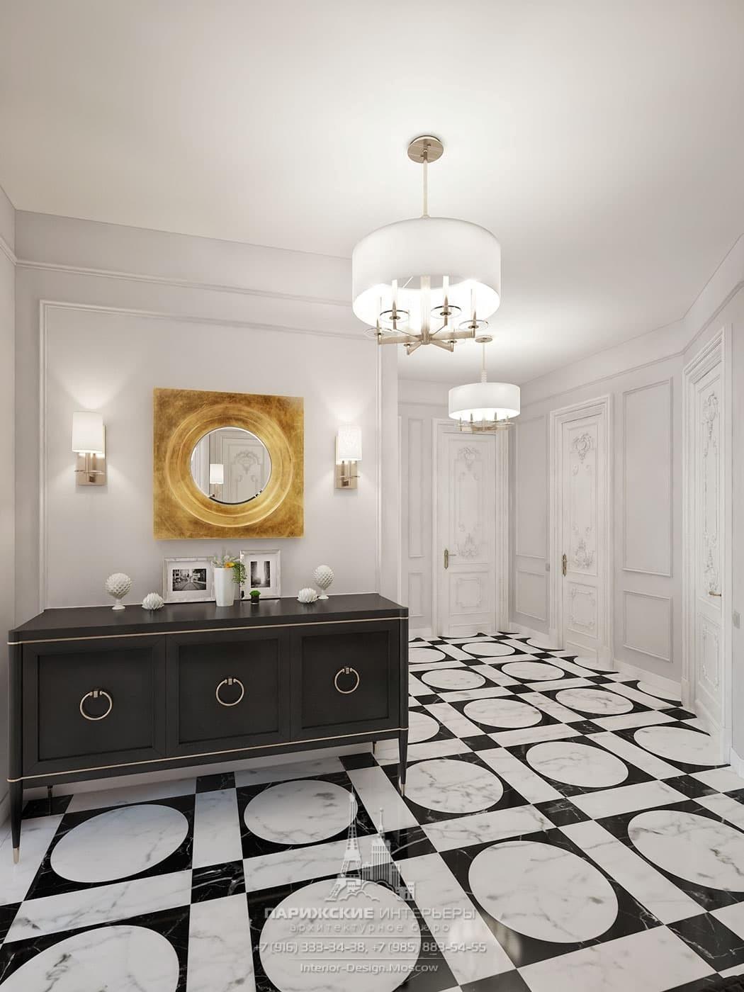 Интерьер холла в современном стиле с черно-белым полом